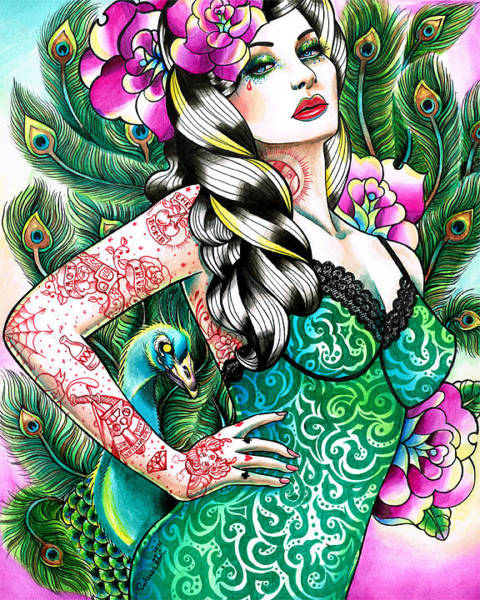 Tattoo Flash Painting - Tattooed Peacock Pinup by Carissa Rose Stevens