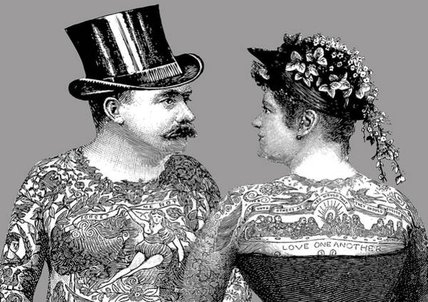 Wedding Gift Digital Art - Tattooed Victorian Lovers by Eclectic at HeART
