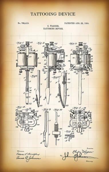 Tats Wall Art - Digital Art - Tattooing Device Patent 1904 by Daniel Hagerman
