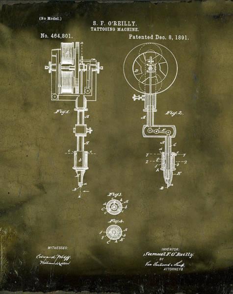 Wall Art - Photograph - Tattooing Machine Patent 1891 Grunge by Bill Cannon