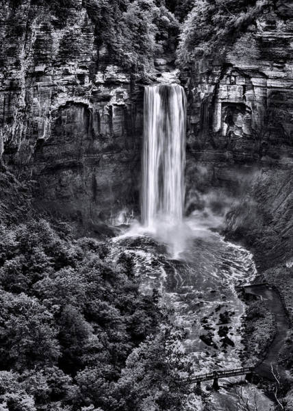Niagara Falls State Park Photograph - Taughannock Falls - Bw by Stephen Stookey