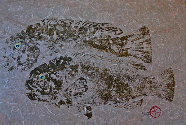 Blackfish Wall Art - Mixed Media - Tautog With Shadow by Jeffrey Canha