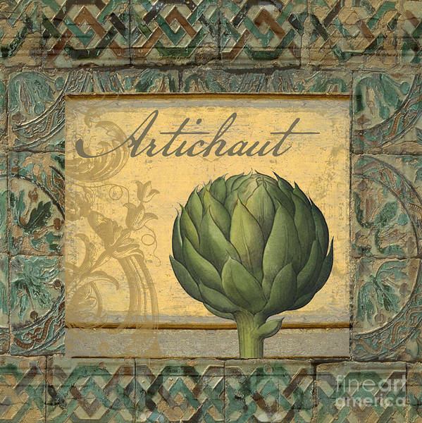 Artichoke Painting - Tavolo, Italian Table, Artichoke by Mindy Sommers