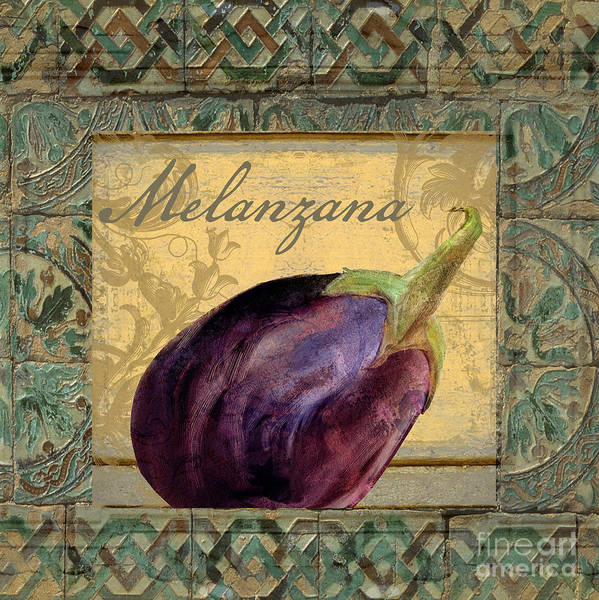 Artichoke Painting - Tavolo, Italian Table, Eggplant by Mindy Sommers