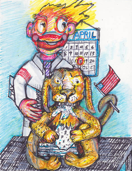 Sock Monkey Drawing -  Tax Time And The Bull Dog Ate My Taxes by Susan Brown    Slizys art signature name