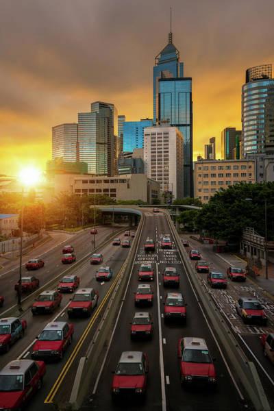 Hongkong Photograph - Taxi And Hongkong City With Morning Sunrise by Anek Suwannaphoom