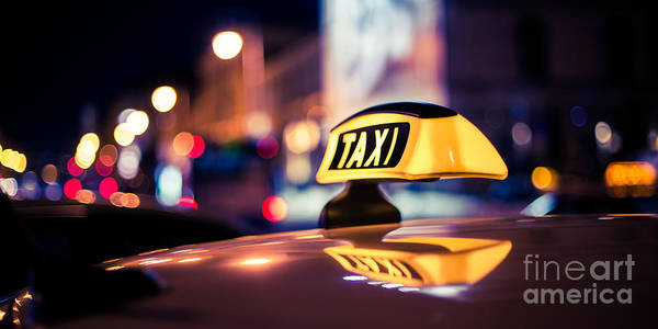 Photograph - Taxi - Blue by Hannes Cmarits