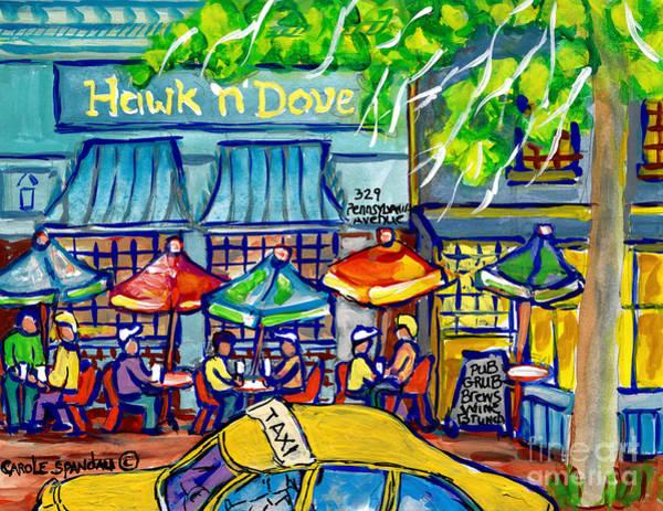 Painting - Taxi Cab To The Hawk N Dove Pub Capitol Hill Sidewalk Patio American Watercolor Streetscene Cspandau by Carole Spandau