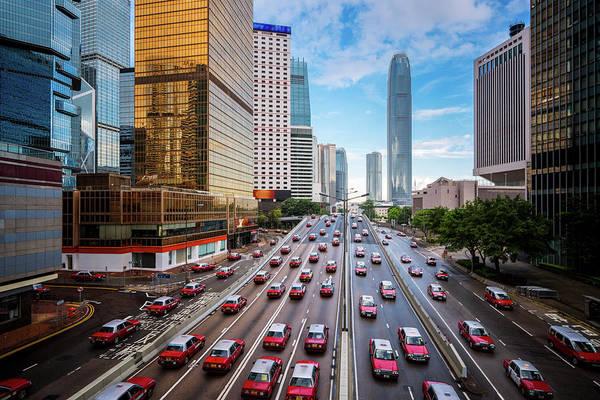 Hongkong Photograph - Taxi In Hongkong City  by Anek Suwannaphoom