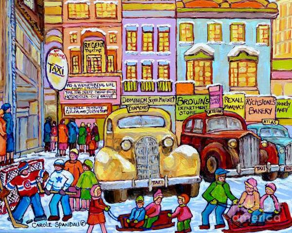 Painting - Taxi Stand Vintage Downtown  Montreal Stores And Cars Montreal Memories Winter Scenes Art C Spandau  by Carole Spandau
