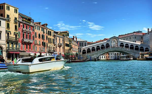 Photograph - A Taxi Going Towards The Rialto Bridge In Venice, Italy by Fine Art Photography Prints By Eduardo Accorinti