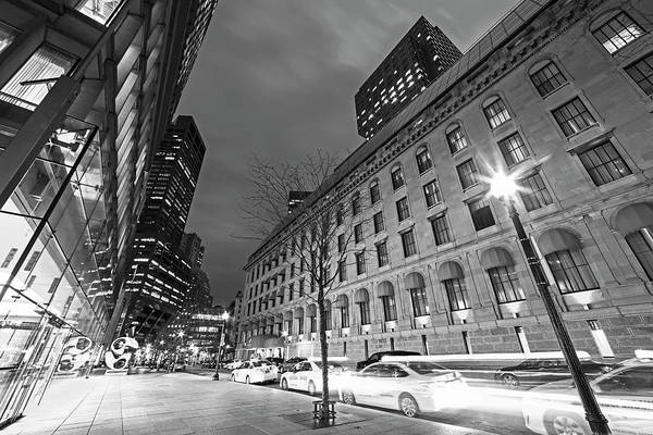 Photograph - Taxis Edging To The Next Spance Franklin St Boston Ma Black And White by Toby McGuire