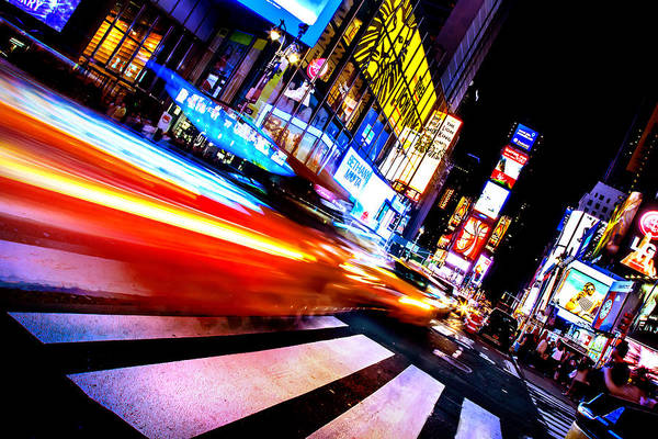 Time Exposure Wall Art - Photograph - Taxis In Times Square by Az Jackson