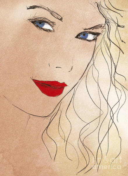 Inspirational Drawing - Taylor Red Lips by Drawspots Illustrations