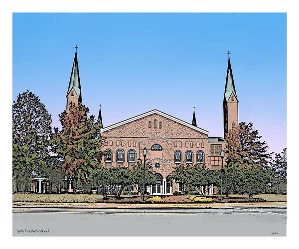 Wall Art - Drawing - Taylors First Baptist Church by Greg Joens