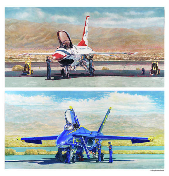Painting - Tbirds And Angels Maintenance by Douglas Castleman