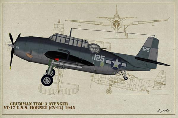 Uss Hornet Digital Art - Tbm-3 Avenger Profile Art by Tommy Anderson