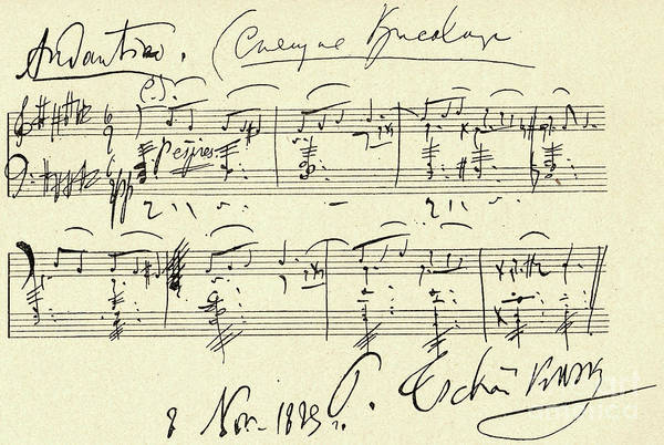 Wall Art - Drawing - Tchaikovsky Autographed Score by Tchaikovsky