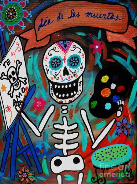 Harana Wall Art - Painting - Te Amo Painter Dia De Los Muertos by Pristine Cartera Turkus