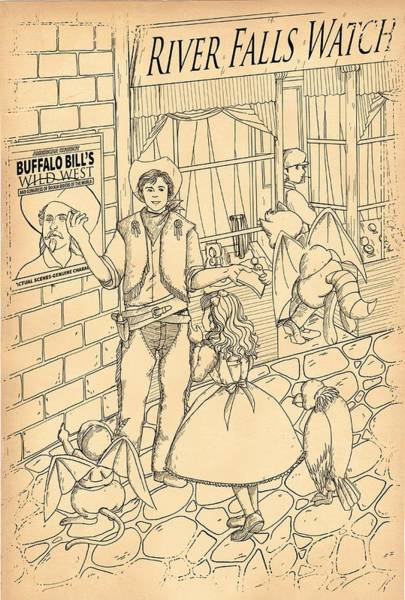 Drawing - The Cowboy On River Street by Reynold Jay