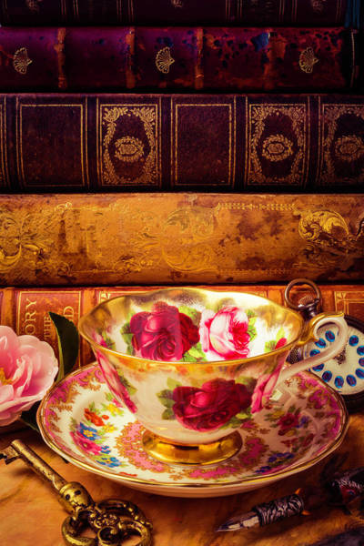 Photograph - Tea Cup And Old Books by Garry Gay