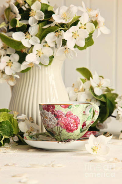Wall Art - Photograph - Tea Cup With Fresh Flower Blossoms by Sandra Cunningham