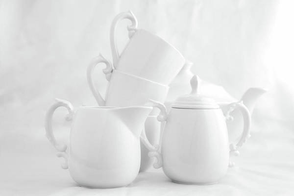 Saucer Photograph - Tea For Three In White by Tom Mc Nemar