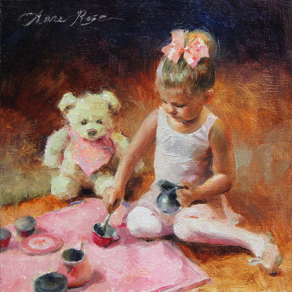 Teddy Bear Painting - Tea For Two by Anna Rose Bain
