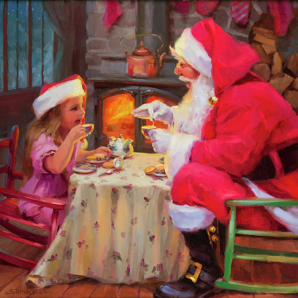 Reindeer Wall Art - Painting - Tea For Two by Steve Henderson