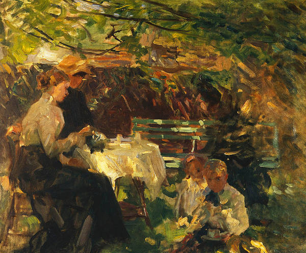 Shade Garden Wall Art - Painting - Tea In The Garden, by Walter Frederick Osborne