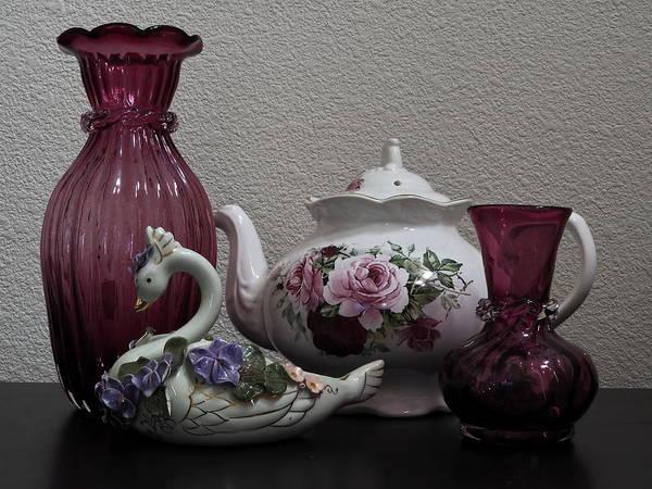 Tea Pot And Cranberry Glass Art Print