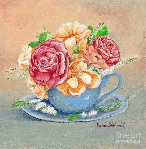 Wall Art - Painting - Tea Roses by Portraits By NC