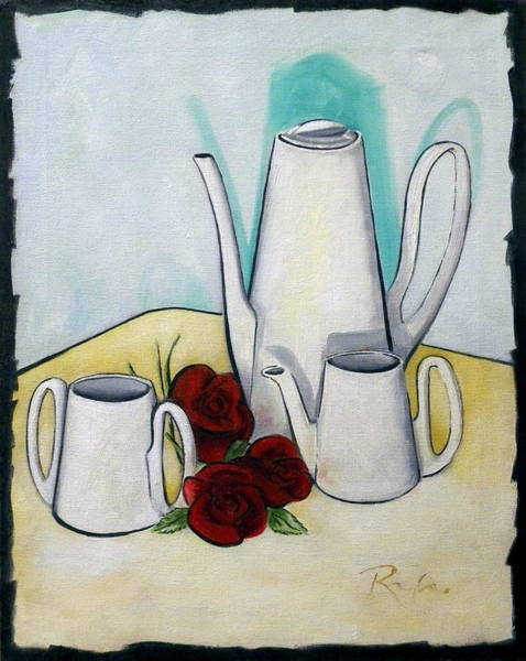 Tea Set And Roses Art Print