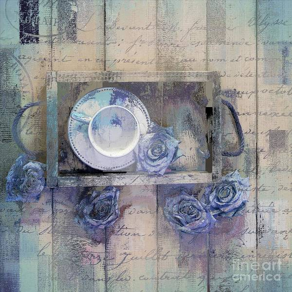 Purple Rose Digital Art - Tea Time - J043097070-add222 by Variance Collections