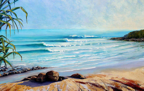 Wave Breaking Painting - Tea Tree Bay Noosa Heads Australia by Chris Hobel