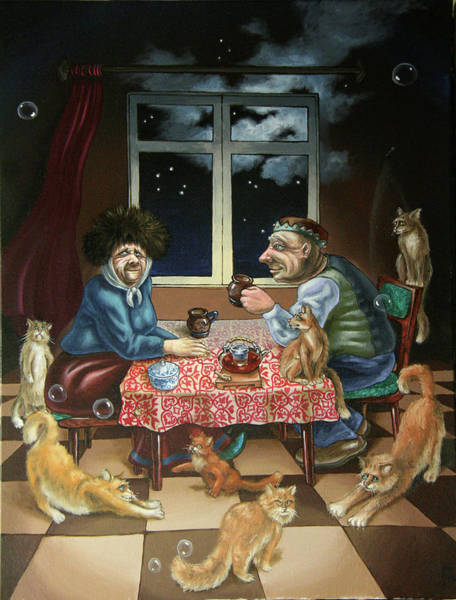 Painting - Tea With Cats by Victor Molev