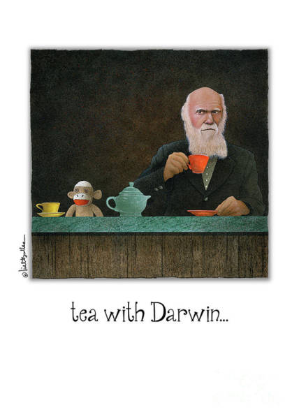 Sock Monkey Painting - tea with Darwin... by Will Bullas
