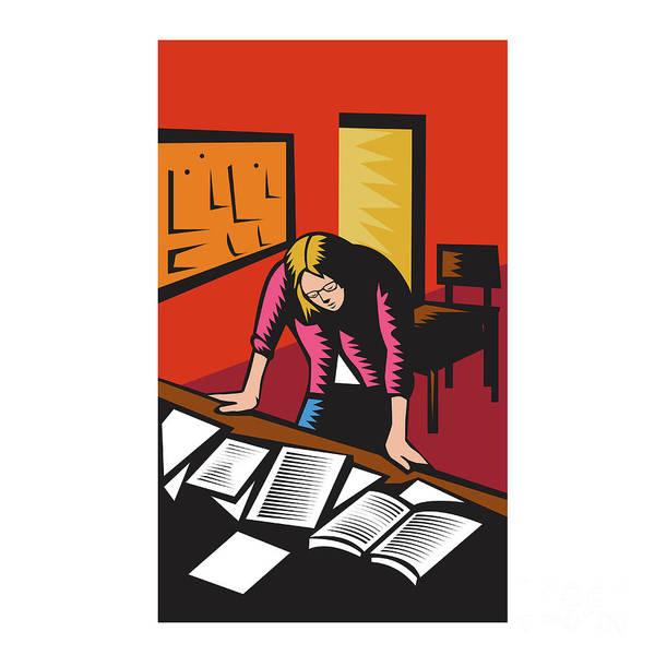 Depressed Digital Art - Teacher Depressed Table Classroom Woodcut by Aloysius Patrimonio