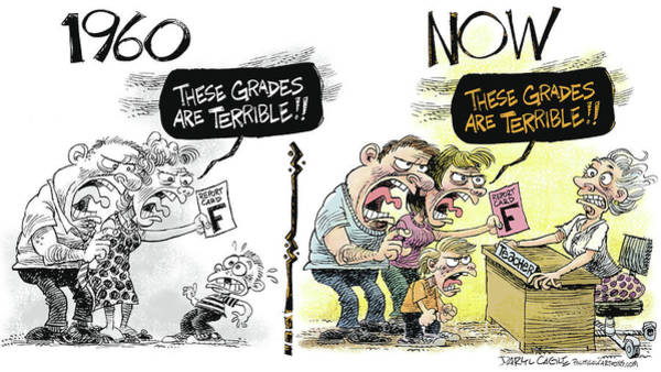 Drawing - Teachers Then And Now by Daryl Cagle
