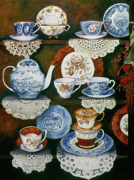 Doily Painting - Teacups On Shelves by Carol VonBurnum