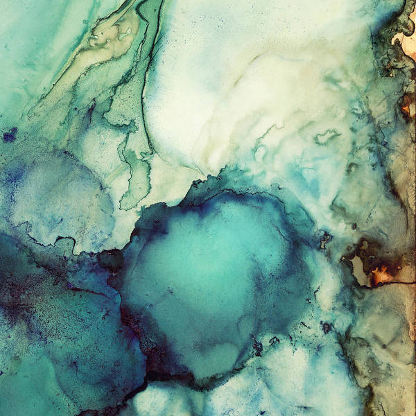 Amber Digital Art - Teal Abstract by Spacefrog Designs