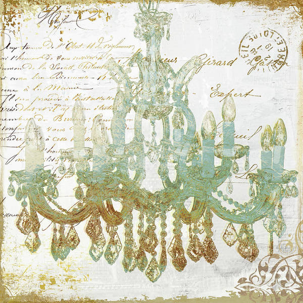 Gold Painting - Teal And Gold Chandelier by Mindy Sommers
