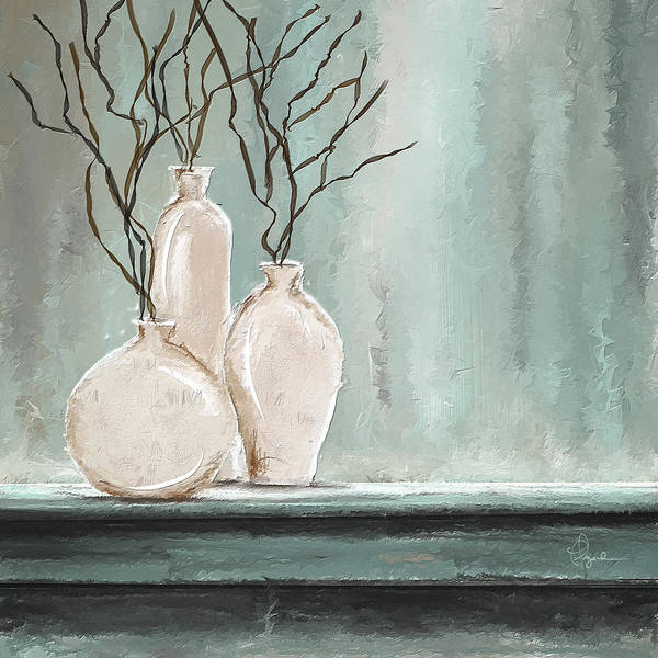 Painting - Teal Elegance - Teal And Gray Art by Lourry Legarde