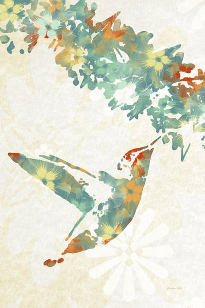 Wall Art - Mixed Media - Floral Hummingbird Art by Christina Rollo