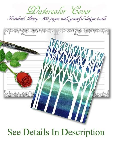 Teal Mixed Media - Teal Forest Watercolor Cover Journal by Irina Sztukowski