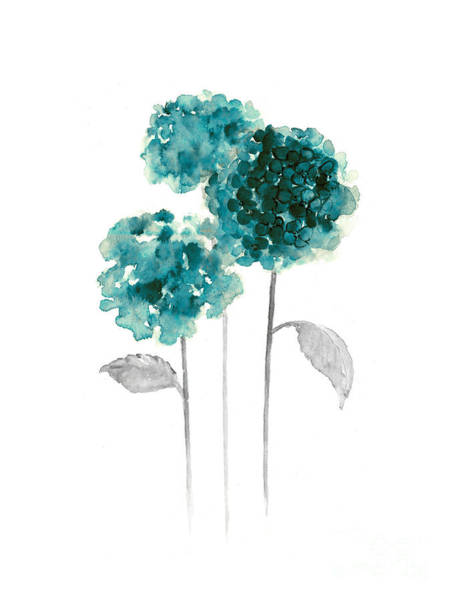 Teal Mixed Media - Teal Hydrangea Fine Art Print by Joanna Szmerdt