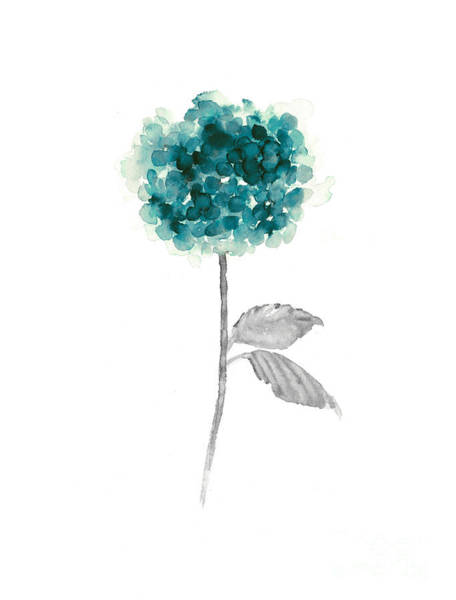 Abstract Flower Mixed Media - Teal Hydrangea Watercolor Painting by Joanna Szmerdt