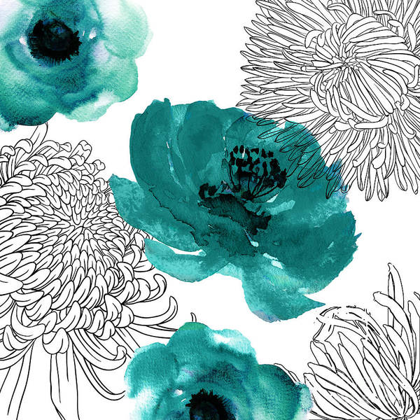 Wall Art - Painting - Teal Mums by Mindy Sommers
