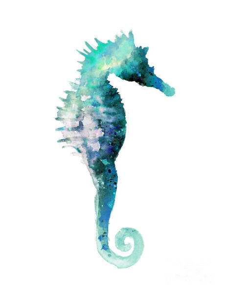 Sealife Painting - Teal Seahorse Nursery Art Print by Joanna Szmerdt