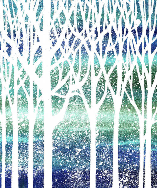 Into The Woods Wall Art - Painting - Teal Snowy Forest Silhouette  by Irina Sztukowski